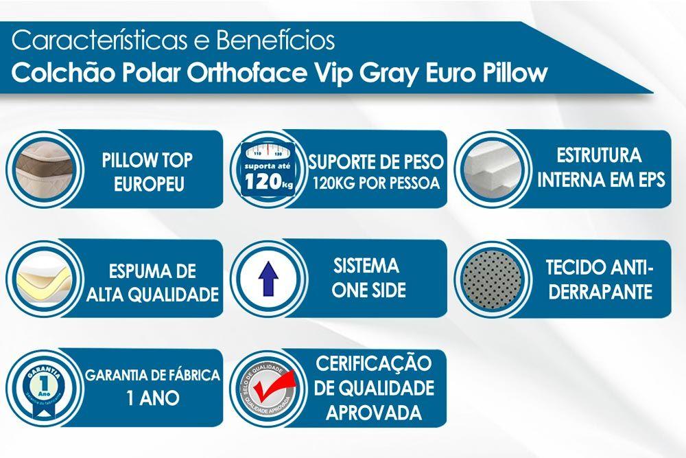 Conjunto Baú - Colchão Polar Espuma Ortopédica Orthoface Vip + Cama Box Baú Universal CRC Camurça Grey