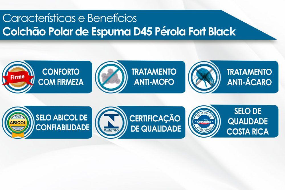 Conjunto Baú - Colchão Polar de Espuma D45 Pérola Fort Black 020 + Cama Box Baú Universal CRC Camurça Black
