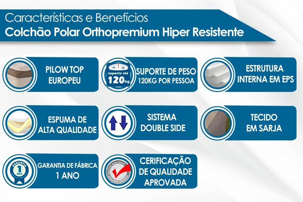 Conjunto Baú - Colchão Polar Espuma Ortopédica Orthopremium Class + Cama Box Baú Universal CRC Camurça Black