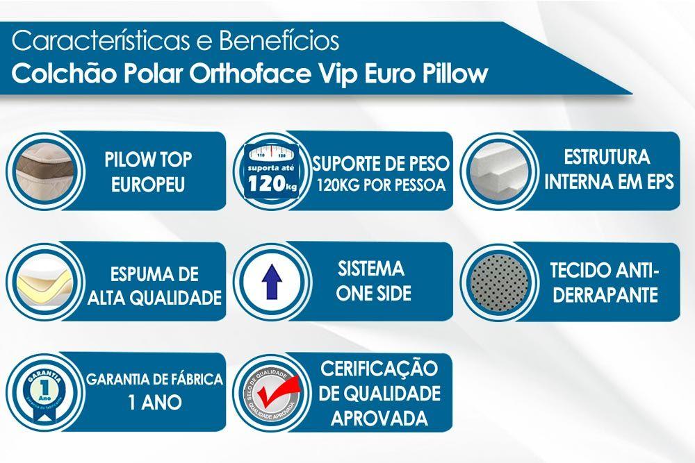 Conjunto Cama Box + Colchão Polar Espuma Ortopédica Orthoface Vip Cinza 030