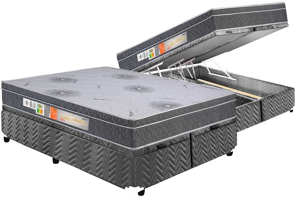 Conjunto Cama Box Baú + Colchão Polar Espuma Ortopédica Orthoface Vip Cinza 030
