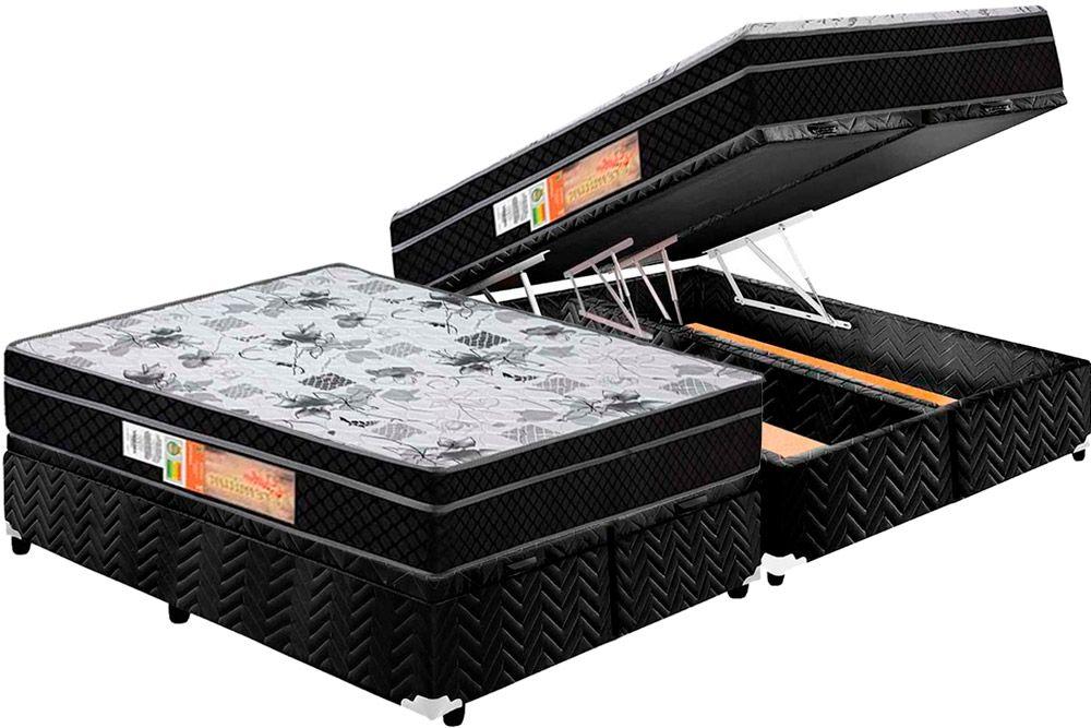 Conjunto - Cama Box Baú+ Colchão Polar Espuma Orthopédica Orthoface Black 025