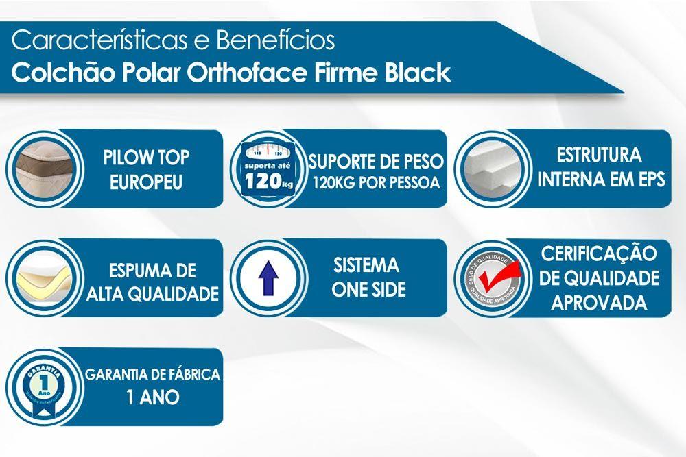 Conjunto Baú - Colchão Polar Espuma Orthopédica Orthoface Black 030 + Cama Box Baú Universal CRC Camurça Black