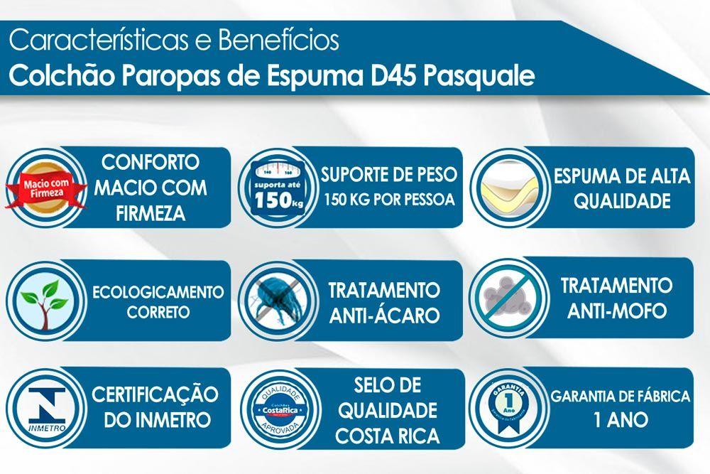 Conjunto Baú - Colchão Paropas Espuma D23 Pasquale Black 020 + Cama Box Baú Universal CRC Camurça Black
