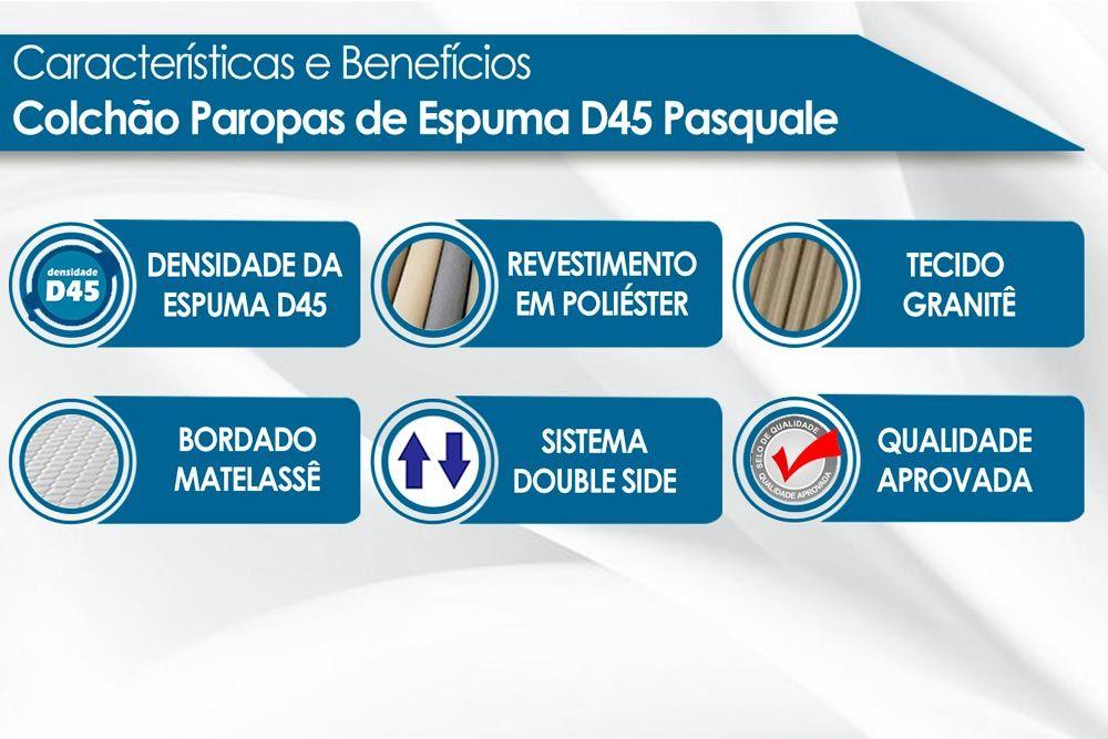 Conjunto Baú - Colchão Paropas Espuma D45 Pasquale 018 + Cama Box Universal CRC Camurça Grey