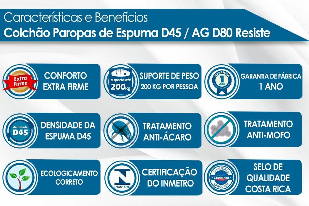 Conjunto Baú - Colchão Paropas Espuma HR D45 Resiste Hotel + Cama Box Baú Universal CRC Courino White