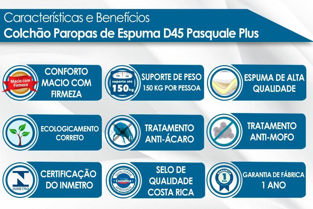 Conjunto Cama Box + Colchão Paropas Espuma D45 Pasquale Plus Clean 025