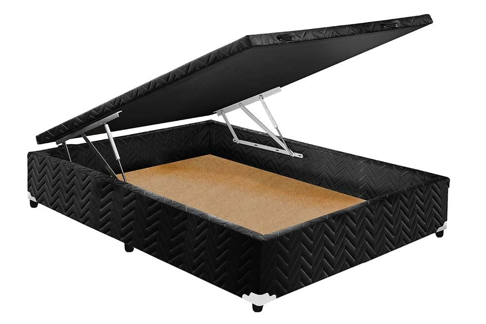 Conjunto Cama Box Baú + Colchão Paropas Espuma D45 Pasquale Black 018