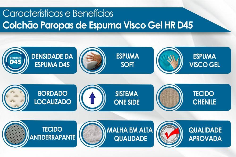 Conjunto Cama Box Universal + Colchão Paropas Espuma Visco Gel HR D45 Soft