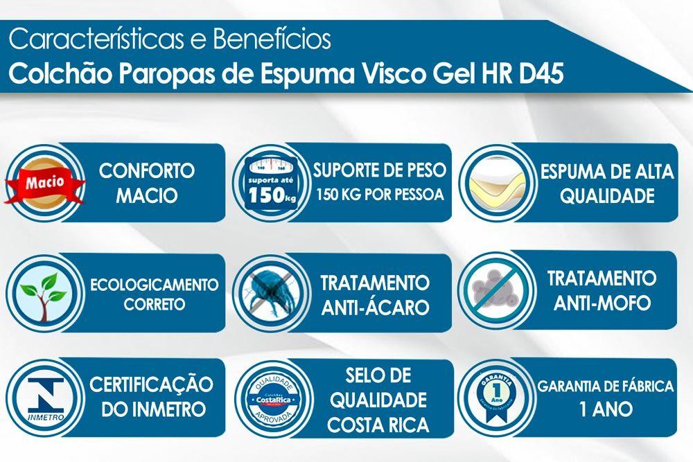 Conjunto Baú - Colchão Paropas Espuma Visco Gel HR D45 Soft + Cama Box Baú Universal CRC Camurça Clean
