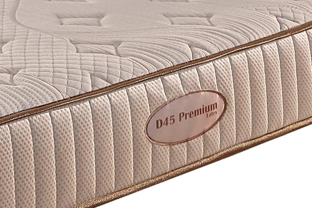 Conjunto Cama Box Baú + Colchão Paropas Espuma Látex D45 Premium Malha Belga Rosê