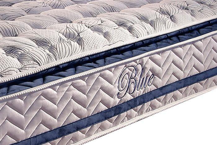 Conjunto Cama Box Baú + Colchão Paropas Molas Pocket Blue