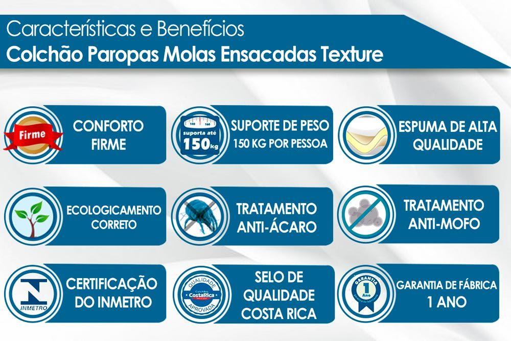 Conjunto Baú - Colchão Paropas Molas Pocket Texture + Cama Box Baú Universal CRC Camurça Clean