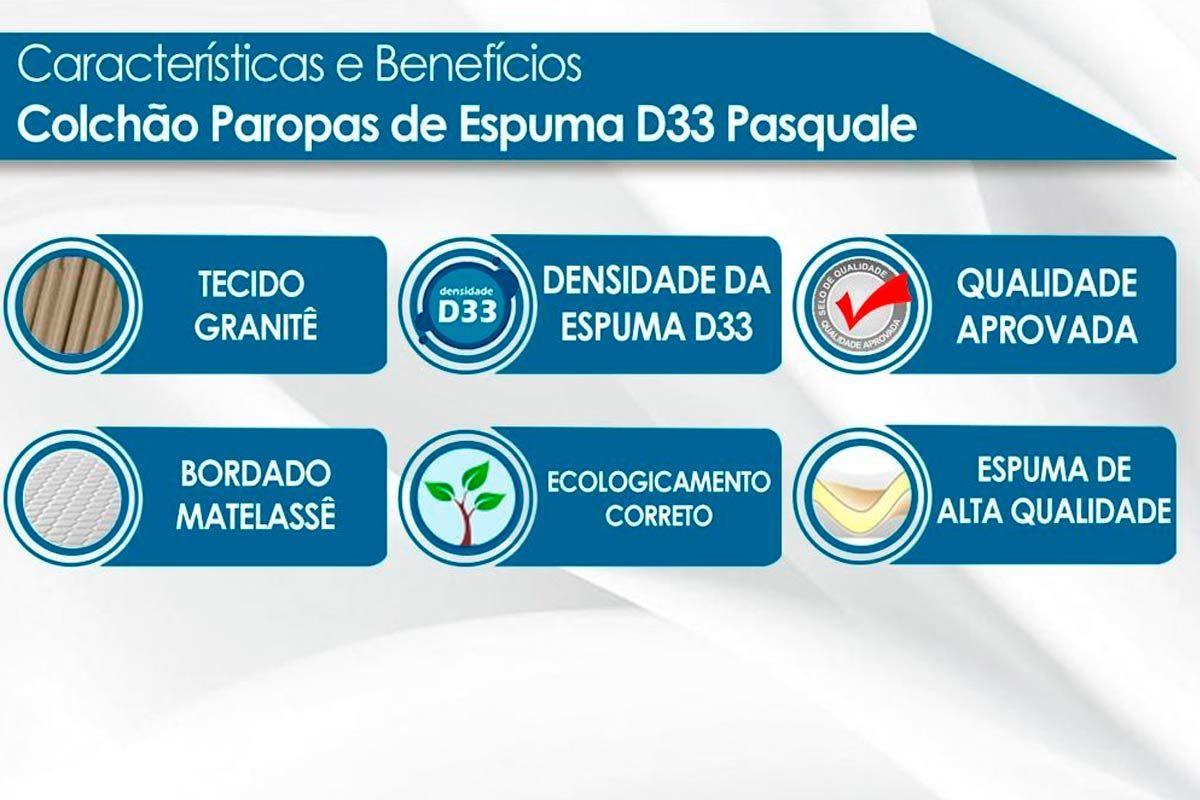 Conjunto Cama Box-Colchão Paropas Espuma D33 Pasquale Clean + Cama Box Universal Camurça Clean