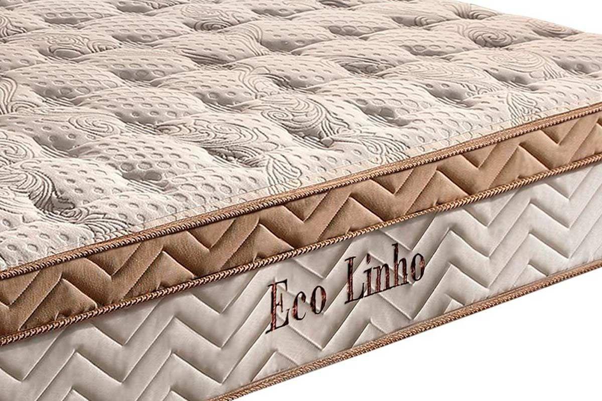 Conjunto Cama Box-Colchão Paropas Molas Pocket Eco Linho + Cama Box Universal Courino White