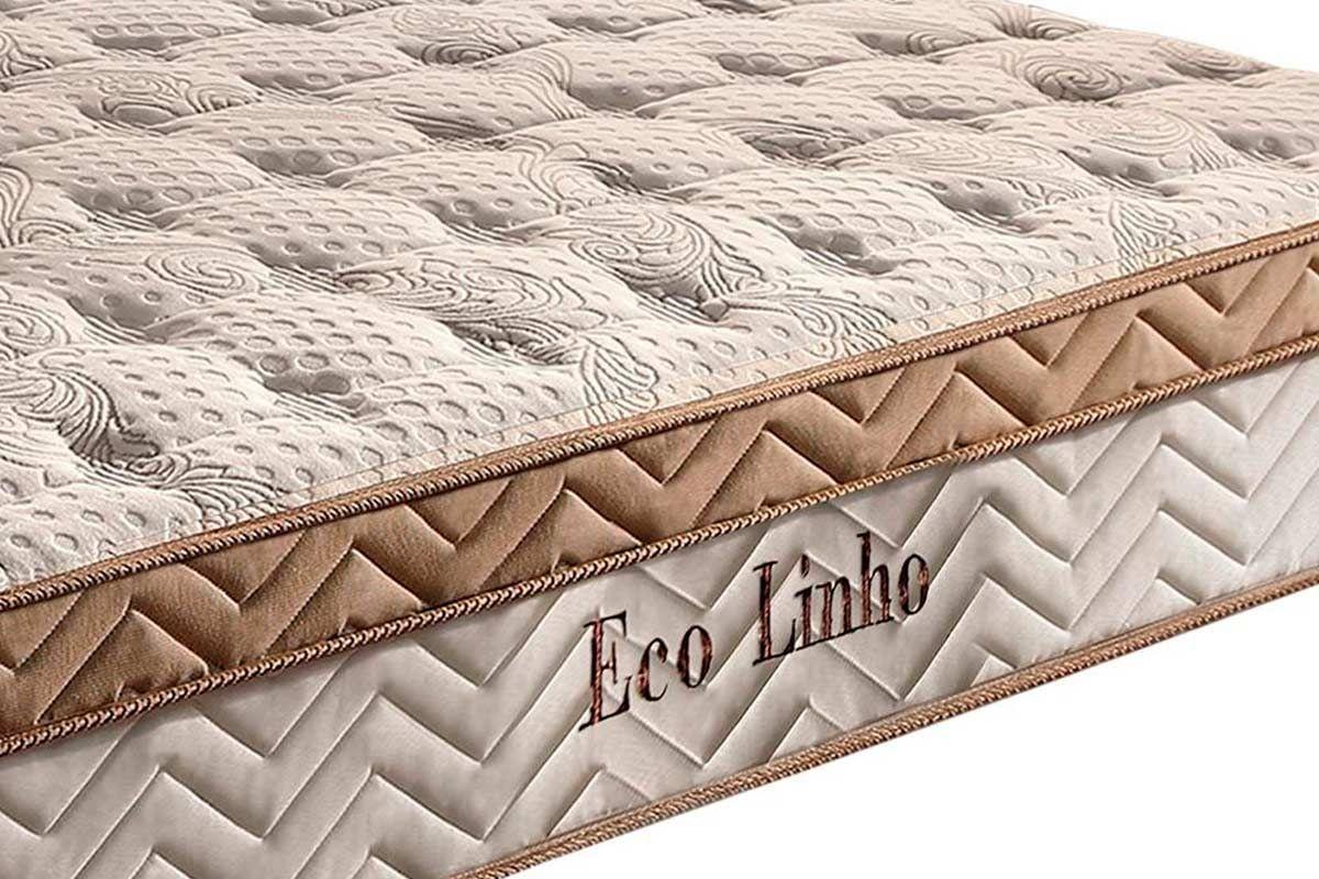 Conjunto Cama Box Baú-Colchão Paropas Molas Pocket Eco Linho Clean + Cama Box Baú Tecido White