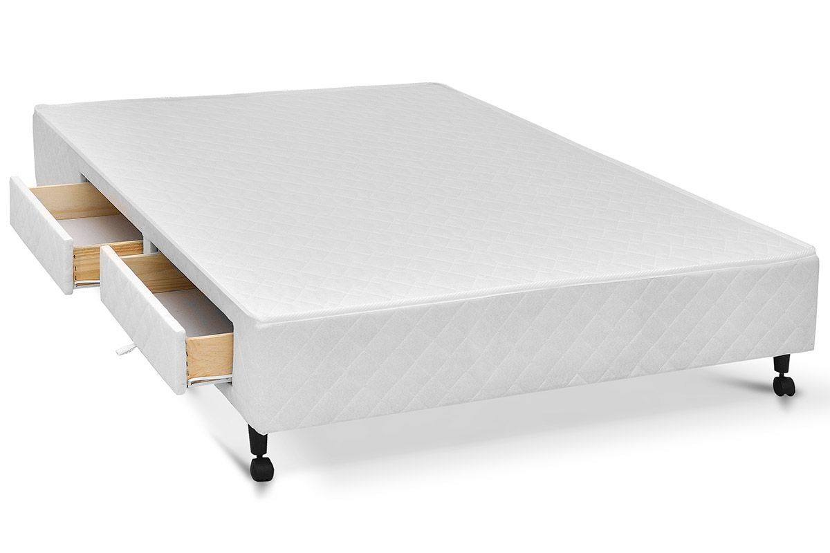 Cama Box Base Castor Poli c/ Gavetas Tecido White
