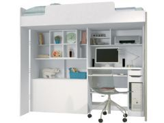 Beliche Santos Andirá Modulo Office Teen Aquarela (Cama+Escrivaninha de CPU+Baú+Nicho+Prateleiras) - Cor Branco/Branco