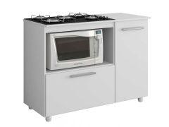 Balcão Ilha CookTop de Cozinha Multimóveis c/ Tampo p/ Fogão 5006 Madeira c/ 2 Portas - Multimóveis