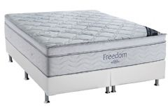 Conjunto Cama Box - Colchão Ortobom de Molas Pocket Freedom + Cama Box Universal Couríno White -