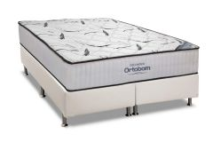 Conjunto Cama Box - Colchão Ortobom Hight Foam + Cama Box Universal Couríno White -
