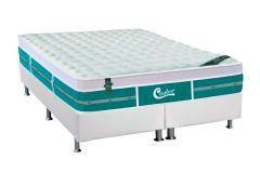 Conjunto Cama Box - Colchão Castor de Molas Pocket Gold Star Green +  Cama Box Universal Couríno White -