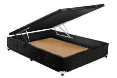 Cama Box Baú Paropas Universal Tecido Fort Preto - Cama Box Solteiro - 0,88x1,88x0,36 - Sem Colchão
