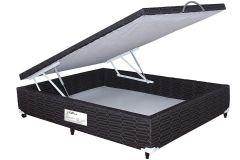 Cama Box Baú Paropas Tecido Black - Cama Box Solteiro - 0,88x1,88x0,36 - Sem Colchão