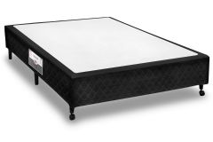 Cama Box Base Castor Poli Tecido Black -
