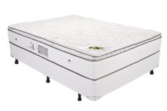 Conjunto Cama Box - Colchão Luckspuma de Molas Pocket Luck Spring White + Cama Box Universal Couríno White -