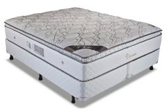 Conjunto Cama Box - Colchão Luckspuma de Molas Pocket  Platinum + Cama Box Universal Couríno White -