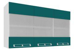 Armário de Cozinha Art In Móveis Aéreo CZ416 Madeira c/ 3 Portas c/ Vidro Mini Boreal Temperado e 1 Prateleira - Cor Branco