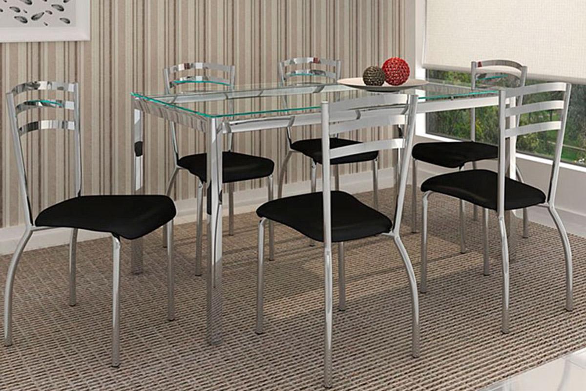 #3D7D6F Conjunto Mesa de Jantar Kappesberg Base Cromada Reno c/Tampo de  1200x800 px conjunto para sala de jantar mesa e 6 cadeiras vi @ bernauer.info Móveis Antigos Novos E Usados Online