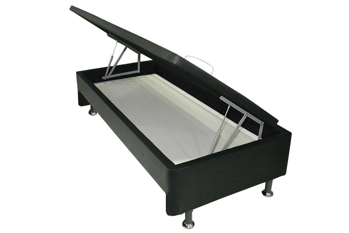 Cama Box Baú Base Ortobom Courino Nero Black  s/ Auxiliar (Obrigatória a compra Cama Box + Auxiliar) - Colchão Ortobom