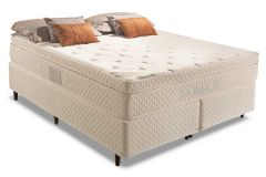 Conjunto Cama Box - Colchão Herval de Molas Pocket Euro Plus + Cama Box Universal Couríno White -