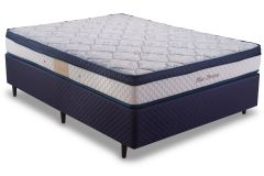 Conjunto Cama Box - Colchão Herval de Molas Pocket Blue Dreams + Cama Box Universal Couríno White -