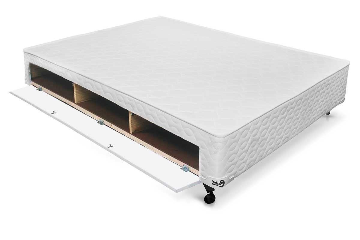 Cama Box Base Castor Closet Poli Tecido White - Colchão Castor