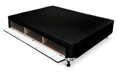 Cama Box Base Castor Closet Poli Tecido Black -