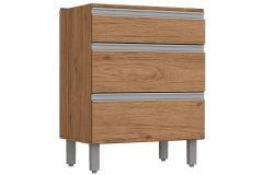 Gabinete (Balcão) de Cozinha Henn Integra c/ 3 Gavetas 60cm s/ Tampo - Cor Rústico