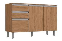 Gabinete (Balcão) de Cozinha Henn Integra c/ 3 Portas e 2 Gavetas p/ Pia 120cm s/Tampo - Cor Rústico c/ Fendi