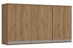 Armário de Cozinha Henn Aéreo Integra c/ 3 Portas 120cm - Cor Rústico c/ Fendi
