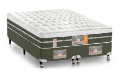 Conjunto Cama Box - Colchão Castor de Molas Bonnel Silver Star Air + Cama Box Universal Courino Bianco -