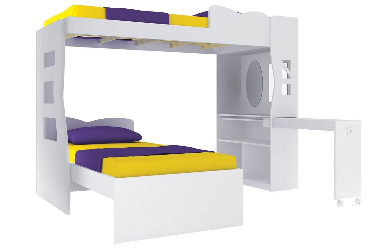 Play Multiuso (2 camas   Escrivaninha   Mine Estante) Móveis Henn #B69D15 1200x800