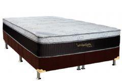 Colchão Luckspuma de Molas Pocket Satisfaction Viscoelástico Sued Euro Pillow - Colchão Solteiro - 0,88x1,88x0,36 Sem Cama Box
