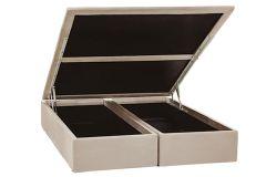 Cama Box Baú Ortobom Nobuck Bege Crema - - Box Baú Physical Solteiro - 0,88x1,88 - Inteiriça