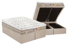 Conjunto Cama Box Baú - Colchão Castor de Molas Pocket Silver Star Air One Face Euro Pillow + Cama Box Baú Nobuck Bege Crema -