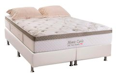 Conjunto Cama Box - Colchão Herval de Molas Pocket Monte Carlo Visco HR + Cama Box Universal Courino Bianco -