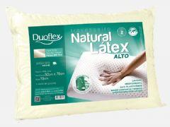 Travesseiro Duoflex Natural Látex Alto LN1101 Capa Algodão 200 fios c/ zíper P/ Fronha 50x70cm (18cm) - Travesseiro Duoflex