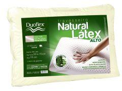 Travesseiro Duoflex Natural Látex Extra Alto LN1101 Capa Algodão 200 fios c/ zíper P/ Fronha 50x70cm (18cm) - Travesseiro Duoflex