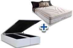 Conjunto Cama Box - Colchão Herval de Molas Maxspring American Pillow Top  + Cama Box Baú Courino White -